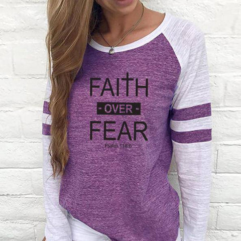Image of Shirt - Faith Over Fear Women's Baseball Jersey Christian Semi-Fitted Long Sleeve Shirt