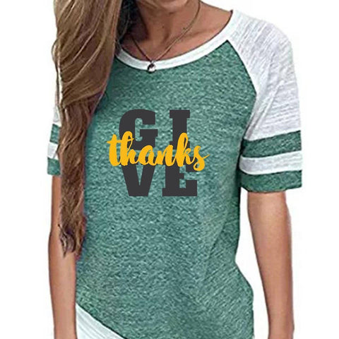 Image of Shirt - Give Thanks Women's Baseball Jersey Christian Semi-Fitted Short Sleeve Shirt