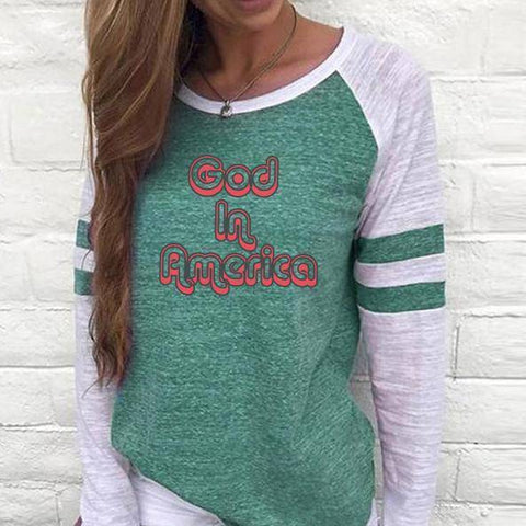 Image of Shirt - God In America Women's Baseball Jersey Christian Semi-Fitted Long Sleeve Shirt