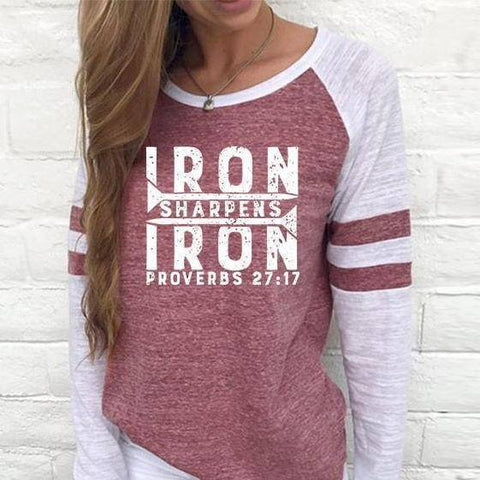 Shirt - Iron Sharpens Iron Women's Baseball Jersey Christian Semi-Fitted Long Sleeve Shirt