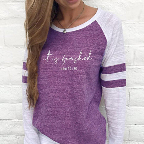 Image of Shirt - It Is Finished Women's Baseball Jersey Christian Semi-Fitted Long Sleeve Shirt