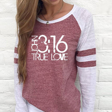 Shirt - John 3:16 Women's Baseball Jersey Christian Semi-Fitted Long Sleeve Shirt