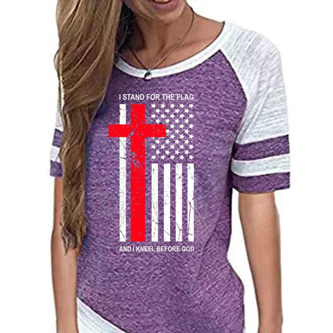 Image of Shirt - Kneel Before God Women's Christian Short Sleeve Baseball Jersey