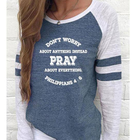 Image of Shirt - Pray, Don't Worry Women's Baseball Jersey Christian Semi-Fitted Long Sleeve Shirt
