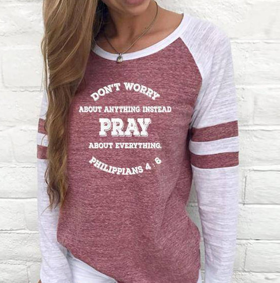 Shirt - Pray, Don't Worry Women's Baseball Jersey Christian Semi-Fitted Long Sleeve Shirt