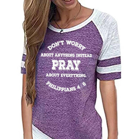 Image of Shirt - Pray, Don't Worry Women's Baseball Jersey Christian Semi-Fitted Short Sleeve Shirt