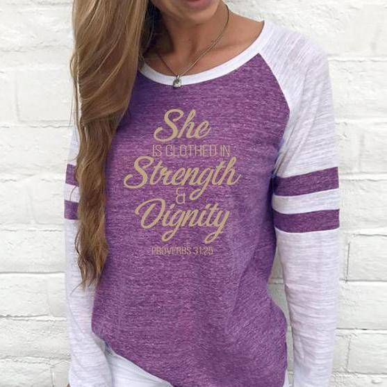 Shirt - She Is Clothed Women's Baseball Jersey Christian Semi-Fitted Long Sleeve Shirt