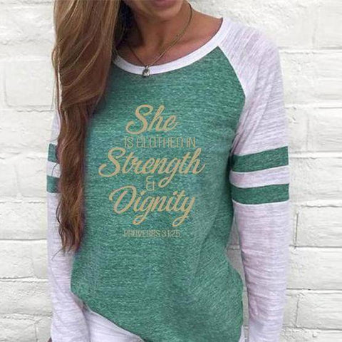 Image of Shirt - She Is Clothed Women's Baseball Jersey Christian Semi-Fitted Long Sleeve Shirt