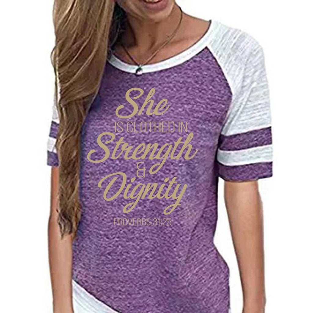 Shirt - She Is Clothed Women's Baseball Jersey Christian Semi-Fitted Short Sleeve Shirt