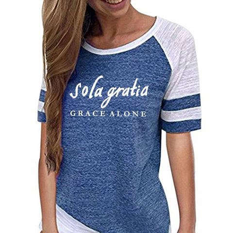 Image of Shirt - Sola Gratia, Grace Alone Women's Baseball Jersey Christian Semi-Fitted Short Sleeve Shirt