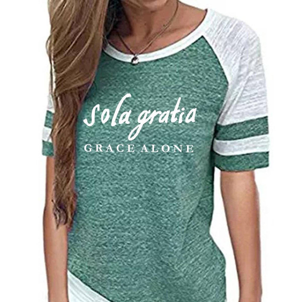 Shirt - Sola Gratia, Grace Alone Women's Baseball Jersey Christian Semi-Fitted Short Sleeve Shirt