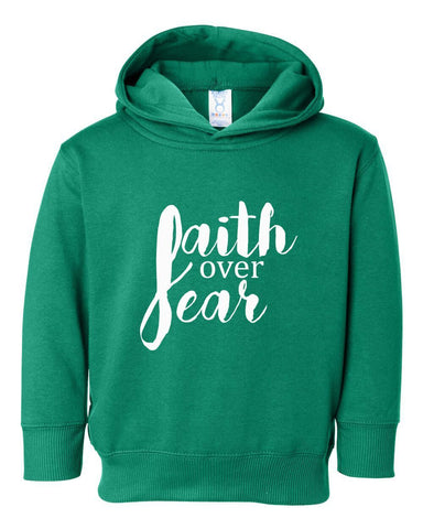 Image of Sweatshirts - Faith Over Fear Toddler Christian Sweatshirt Hoodie
