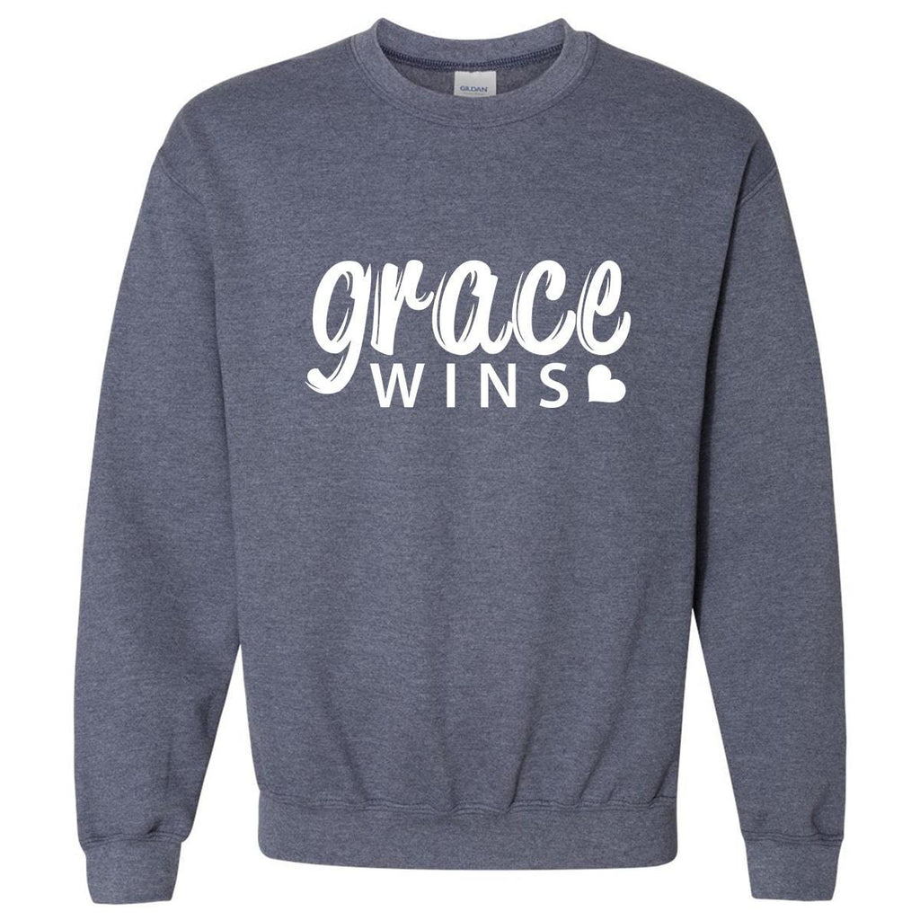 Sweatshirts - Grace Wins Christian Crewneck Unisex Sweatshirt