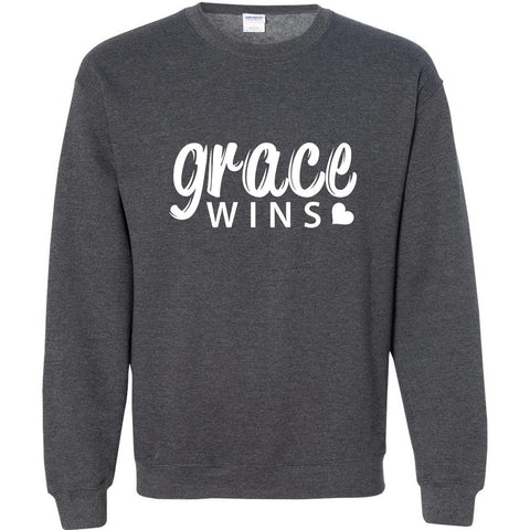 Image of Sweatshirts - Grace Wins Christian Crewneck Unisex Sweatshirt