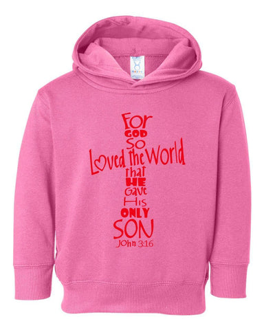 Image of Sweatshirts - John 3:16 Cross Toddler Christian Sweatshirt Hoodie