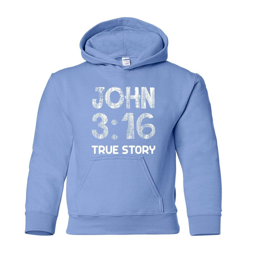 Sweatshirts - John 3:16 True Story Youth Christian Sweatshirt Hoodie