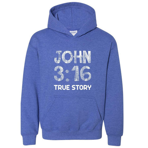 Image of Sweatshirts - John 3:16 True Story Youth Christian Sweatshirt Hoodie
