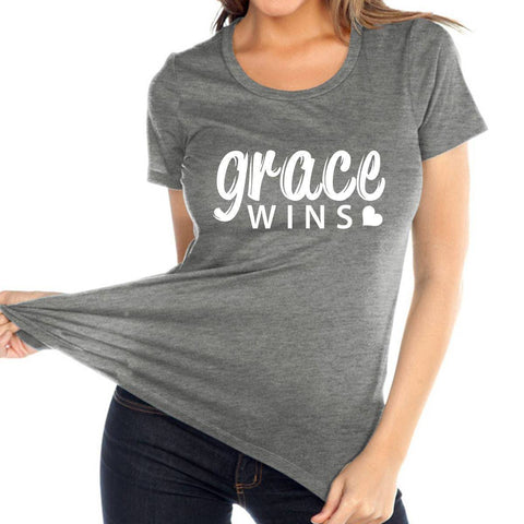 Image of T Shirt - Grace Wins Women's Christian Relaxed Fit Crewneck T Shirt