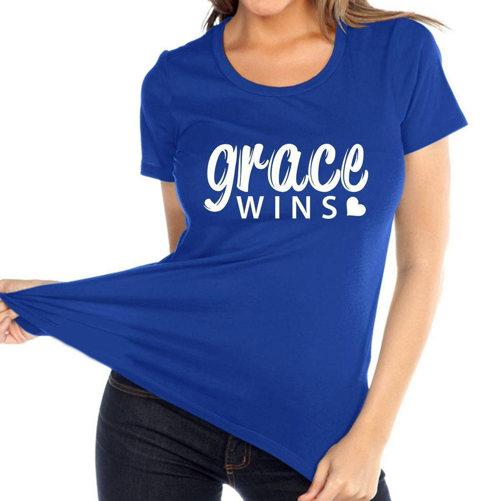 T Shirt - Grace Wins Women's Christian Relaxed Fit Crewneck T Shirt