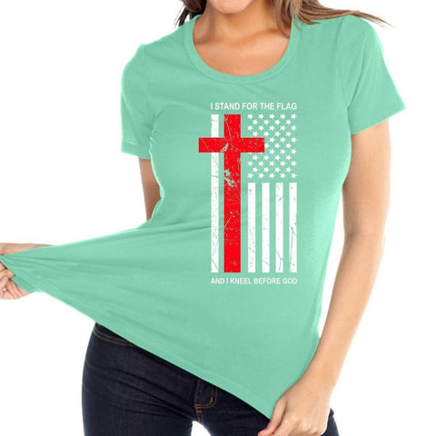 Image of T Shirt - Kneel Before God Women's Christian Relaxed Fit Crew Neck T Shirt