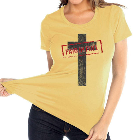 Image of T Shirt - Paid In Full Cross Women's Christian Relaxed Fit Crewneck T Shirt