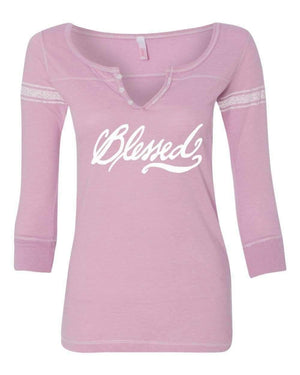 T-Shirts - Blessed Three Quarter Sleeve Scoop Neck Christian Shirt - *Order One Size UP*