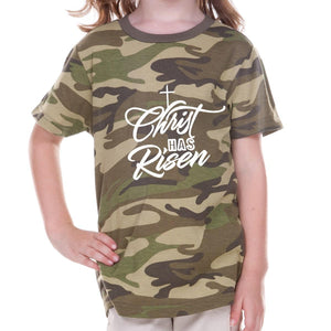 T-Shirts - Christ Has Risen Camouflage Toddler Christian T Shirt
