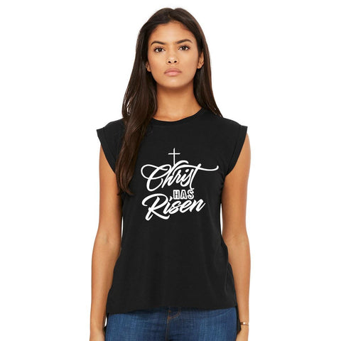 Image of T-Shirts - Christ Has Risen Women's Flowy Muscle Christian T Shirt