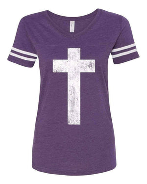 Cross Christian V Neck Football Jersey T Shirt