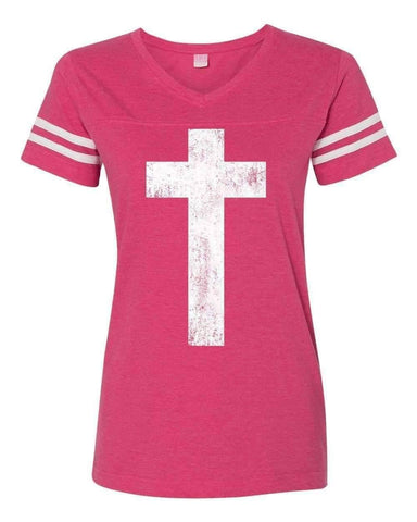 T-Shirts - Cross Christian V Neck Football Jersey T Shirt