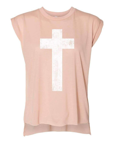 Image of T-Shirts - Cross Women's Flowy Muscle Christian T Shirt