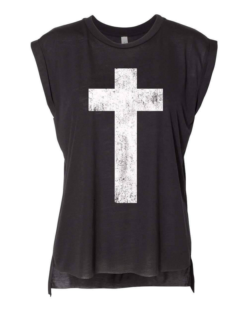 T-Shirts - Cross Women's Flowy Muscle Christian T Shirt