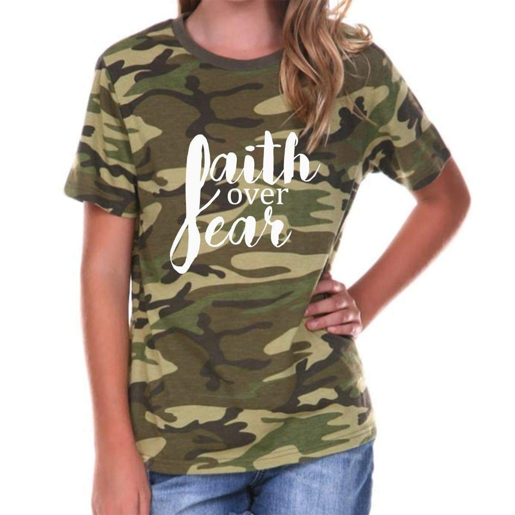 T-Shirts - Faith Over Fear Camouflage Youth Jersey Short Sleeve Christian T Shirt