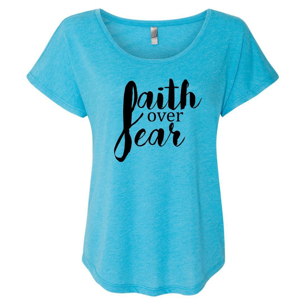 T-Shirts - Faith Over Fear Women's Christian Dolman T-Shirt