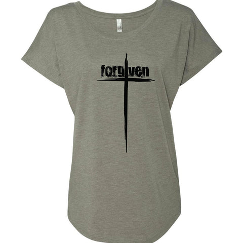 Image of T-Shirts - Forgiven Cross - Women's Christian Dolman T-Shirt