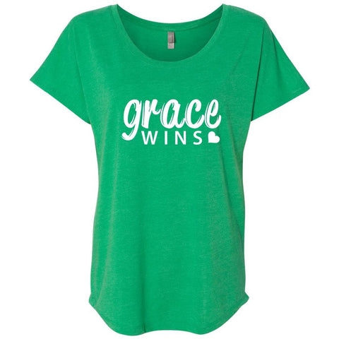 Image of T-Shirts - Grace Wins Women's Christian Dolman T-Shirt