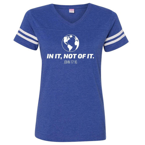 Image of T-Shirts - In It, Not Of It Christian V Neck Football Jersey T Shirt