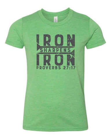 Image of T-Shirts - Iron Sharpens Iron Youth Jersey Short Sleeve Christian T Shirt