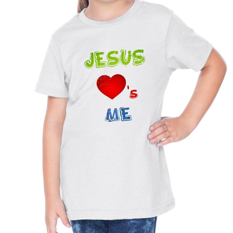 Image of T-Shirts - Jesus Loves Me Toddler Christian Short Sleeve T Shirt