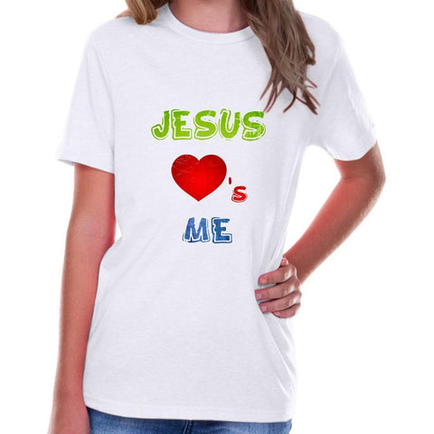 Image of T-Shirts - Jesus Loves Me Youth Jersey Short Sleeve Christian T Shirt