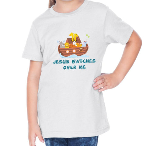 T-Shirts - Jesus Watches Over Me Toddler Christian Short Sleeve T Shirt