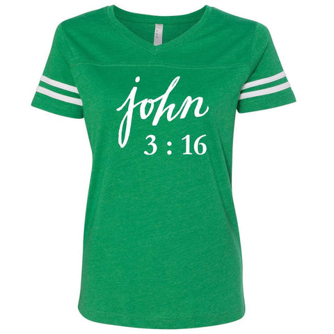 T-Shirts - John 3:16 Christian V Neck Football Jersey T Shirt