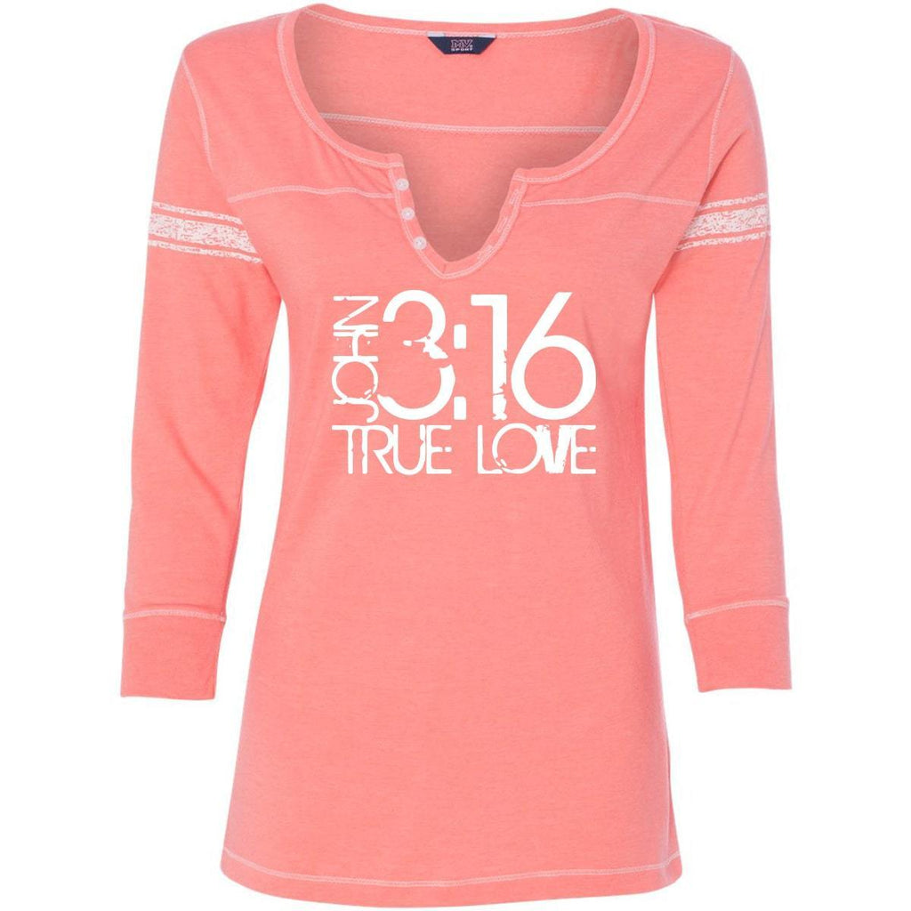 T-Shirts - John 3:16 True Love Three-Quarter Sleeve Scoop Neck Christian Shirt - *Order One Size UP*