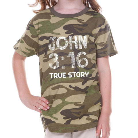 T-Shirts - John 3:16 True Story Camouflage Toddler Christian T Shirt