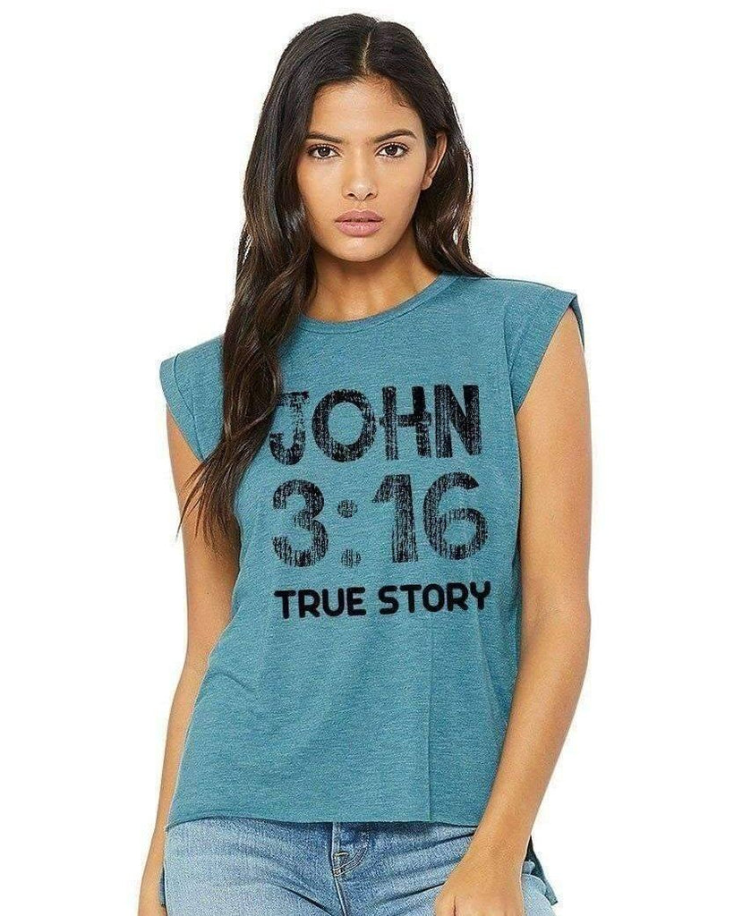 T-Shirts - John 3:16 Women's Flowy Muscle Christian T Shirt