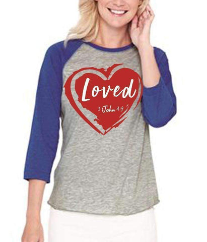 Image of T-Shirts - Loved Women's Baseball Jersey Christian Shirt