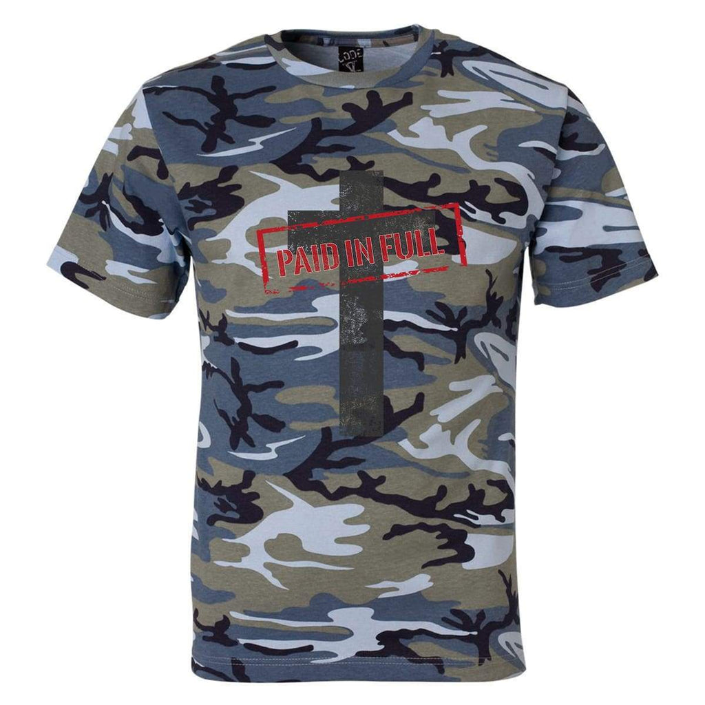 T-Shirts - Paid In Full Cross Camo Christian Unisex T-Shirt