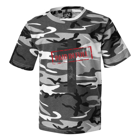 Image of T-Shirts - Paid In Full Cross Camo Christian Unisex T-Shirt