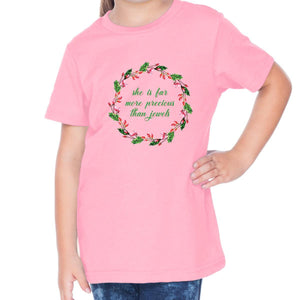 T-Shirts - She Is Far More Precious Toddler Christian Short Sleeve T Shirt