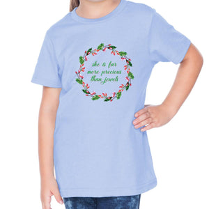 She Is Far More Precious Toddler Christian Short Sleeve T Shirt